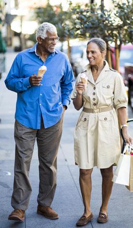 Old Couple enjoying Ice Cream